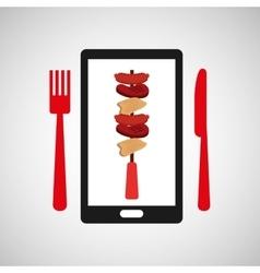 smartphone order skewers food online vector image