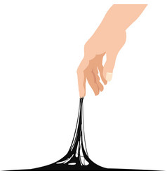 Sticky slime reaching stuck for hand black banner vector