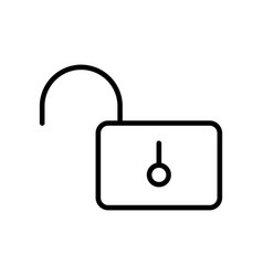 Thin line opened lock icon vector