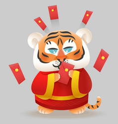 Tiger with traditional chinese costume vector