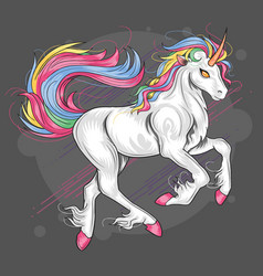 unicorn full color rainbow majestic eyes vector image