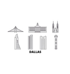 United states dallas line travel skyline set vector