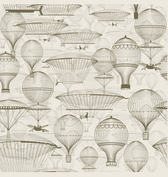 vintage hot air balloons floating in sky vector image