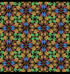 vintage leafy autumn seamless pattern abstract vector image