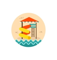 Water Park Summer Vacation Slide Beach icon vector image