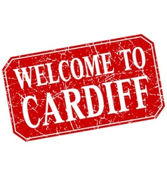 Welcome to Cardiff red square grunge stamp vector