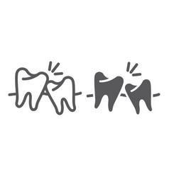 wisdom teeth line and glyph icon dentistry and vector image