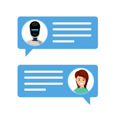 woman chatting with robot vector image