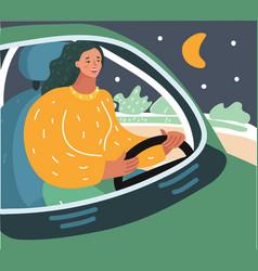 Woman driving car at night vector