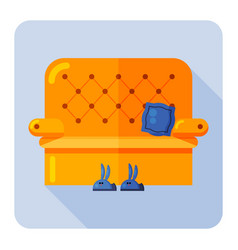 yellow sofa blue slippers in form bunnies vector image