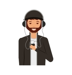 young man with headset character vector image