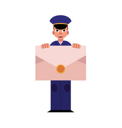 young postman in blue uniform holds big envelope vector image
