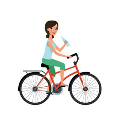 young woman riding bicycle and holding bottle of vector image