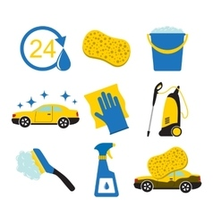 Car wash tools icons vector image