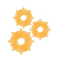 Drawing gear wheel team work vector