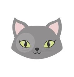 gray cat green eyes pet animal vector image