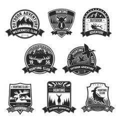 hunting club adventure icons or badges set vector image vector image
