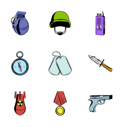 military icons set cartoon style vector image vector image