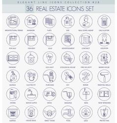 Real Estates outline icon set Elegant thin vector image