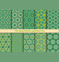 Set of ten geometric seamless patterns vector
