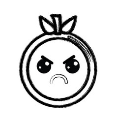 contour kawaii cute angry orange fruit vector image vector image