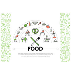 Food line icons composition vector