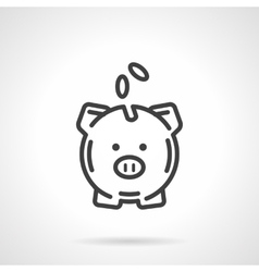 Piggy bank simple line icon vector image