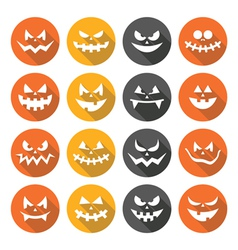 Scary Halloween pumpkin faces flat design icons vector image