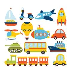 Set of cartoon transport Transportation theme vector image