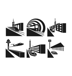 Transportation stations icons set vector image vector image