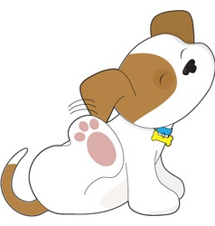 cute puppy scratching vector image vector image