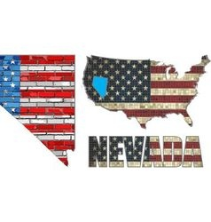 USA state of Nevada on a brick wall vector image