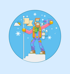 alpinist climbed the mountain vector image