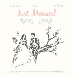 draw bride groom sitting tree branch sketch vector image vector image