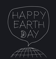 happy earth day greeting lettering in speech vector image vector image