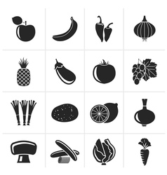Silhouette Different kind of fruit and vegetables vector image
