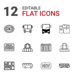 12 arrival icons vector