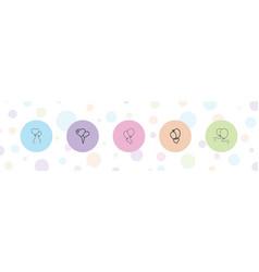 5 balloons icons vector