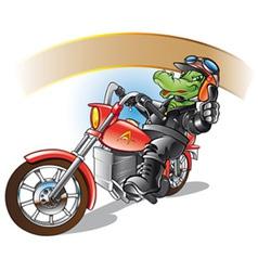 alligator on a motorbiker vector image