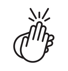 Applause audience clapping hands line art icon vector