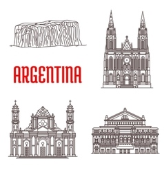 Argentina natural and architecture landmarks vector