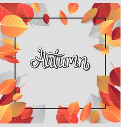 Autumn lettering hand written typography on white vector