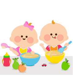 Babies eating breakfast vector