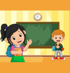 back to school with boy and girl vector image