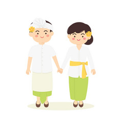 Bali indonesia couple cartoon vector