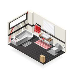 Bathroom futuristic interior isometric composition vector