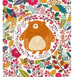 Bear in autumn forest vector