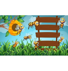 Bee flying and wooden sign in garden vector image