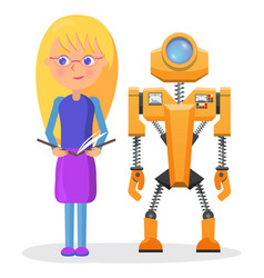 Blonde girl in glasses with copybook and robot vector