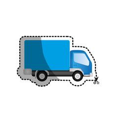 blue trucks trailer icon vector image